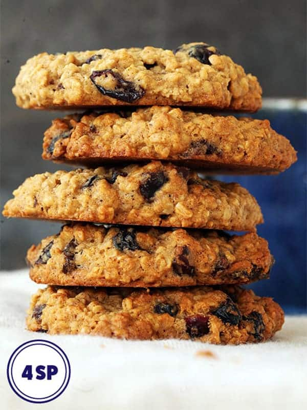 A tower of oat and raisin cookies
