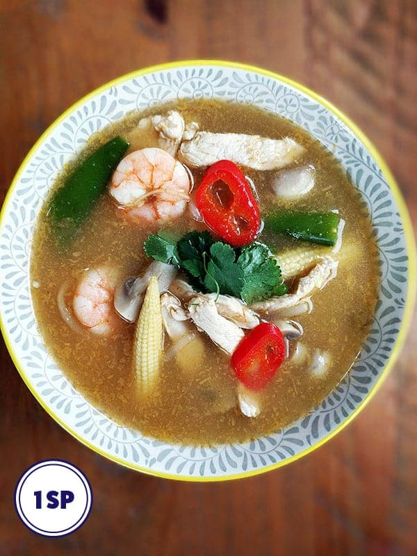 A colourful bowl of tom yum soup