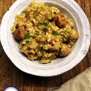 Sausage & Mushroom risotto in a bowl