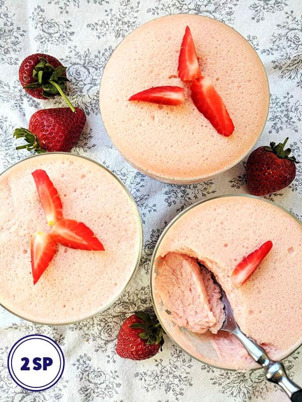 Glass bowls of strawberry fluff