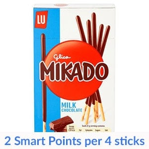 A box of milk chocolate mikado sticks