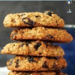 A tower of 5 Oat and Raisin Cookies