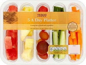 A packet of mixed fruit and veg from Tesco