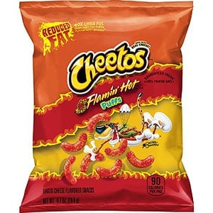 A bag of cheetos puffs reduced fat