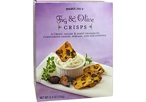 A box of fig and olive crisps
