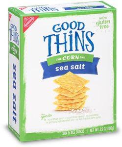 A box of Good thins corn sea salt