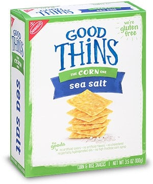 A box of Good thins corn sea salt