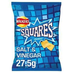 A bag of Walkers Square crisps