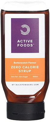 A bottle of Active Foods zero calorie syrup