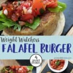 A falafel burger topped with lettuce and salsa