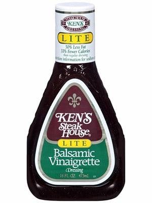 A bottle of Kens Steakhouse lite balsamic dressing