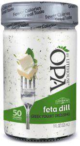A jar of OPA feta dill dressing