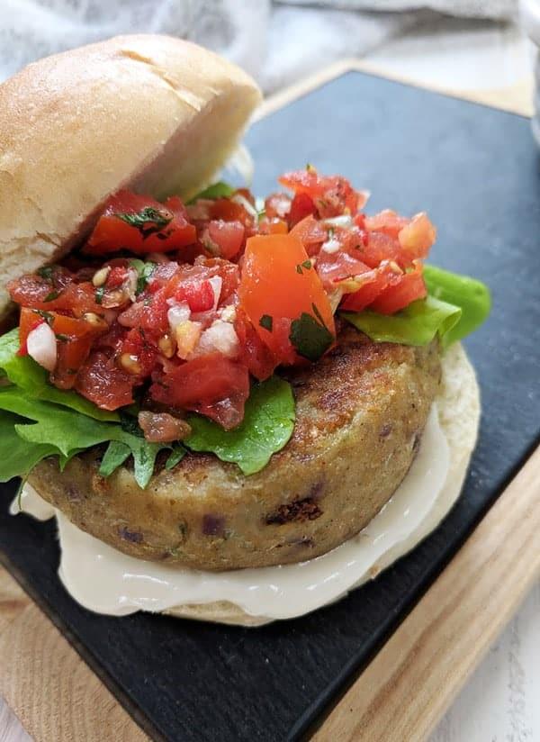 A close up of a falafel burger