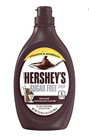 A bottle of Hershey's sugar free syrup