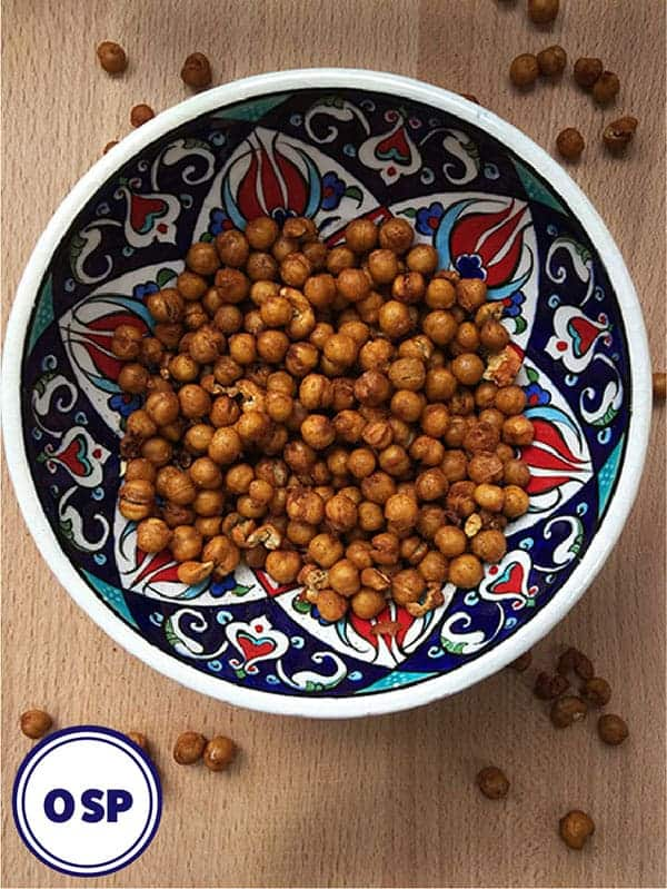 A colourful bowl of roasted spiced chickpeas