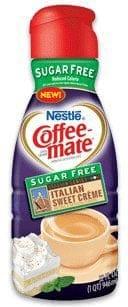 A bottle of sugar free coffee mate liquid