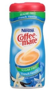 A bottle of Vanilla Coffee Mate