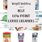 A collage of coffee creamers with text overlay stating 'Weight Watchers Best Low Point Coffee Creamers'.