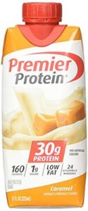 A bottle of Caramel Premier Protein