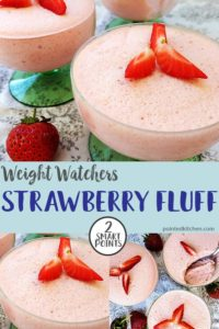 3 glasses of strawberry fluff topped with fresh strawberries