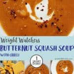 Photographs of butternut squash & red chilli soup