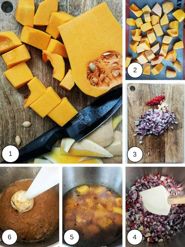 A collage of pictures about how to make butternut squash & red chilli soup