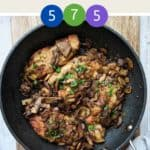 A skillet of Chicken Marsala