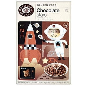 A box of Doves farm Chocolate stars
