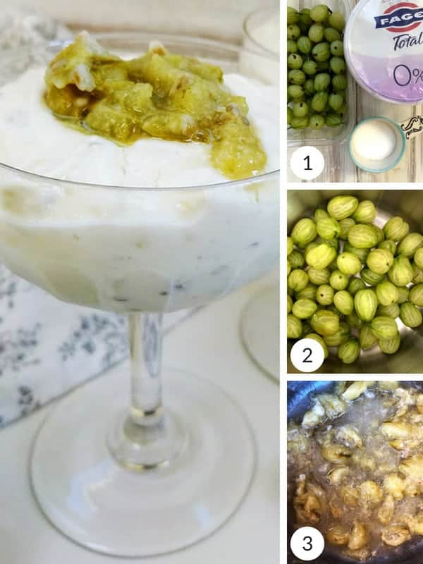 Process shots of how to make gooseberry fool