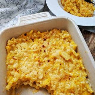 A dish of macaroni cheese