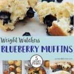 Low point blueberry muffins on a white plate
