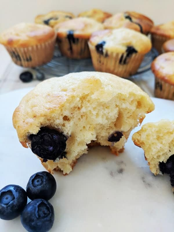 A close up picture of a blueberry muffin