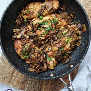 A skillet of Chicken Marsala
