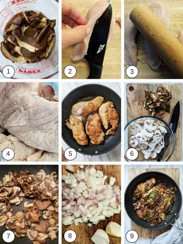 A collage of process photos on how to make chicken marsala