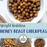A collage of photos about how to make honey roasted chickpeas