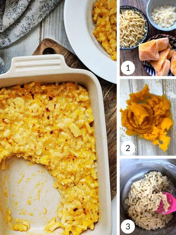 Process shots of making macaroni cheese