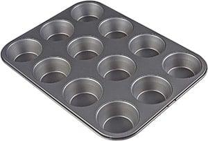 An AmazonBasics nonstick muffin pan
