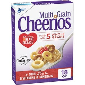 A box of Low Point Cereal - Multi Grain Cheerios