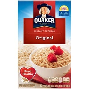 A box of Low Point Cereal - instant oatmeal