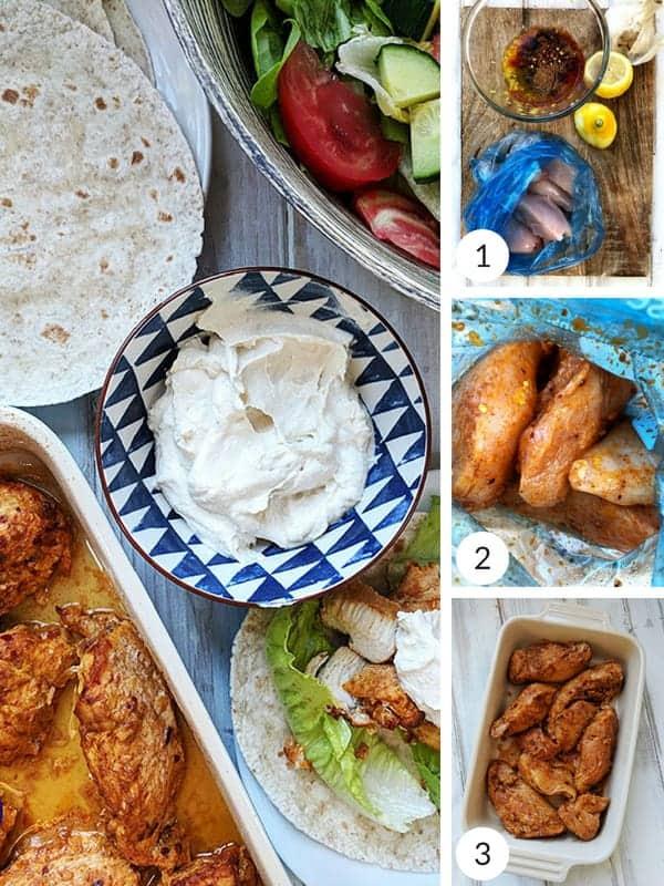 Process shots of how to make shawarma chicken