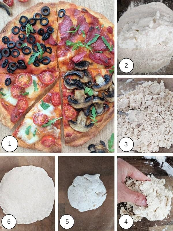 Process photos of how to make a four seasons pizza