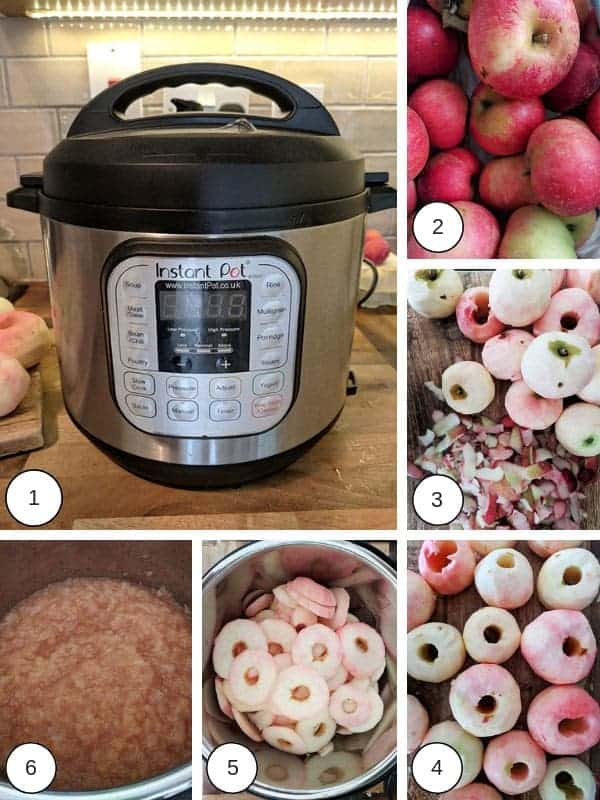 Photographs of the process of making zero point apple sauce
