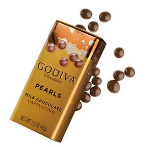Godiva pearls milk chocolate cappuccino - low point chocolate
