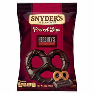 A bag of Pretzel dips -low point chocolate