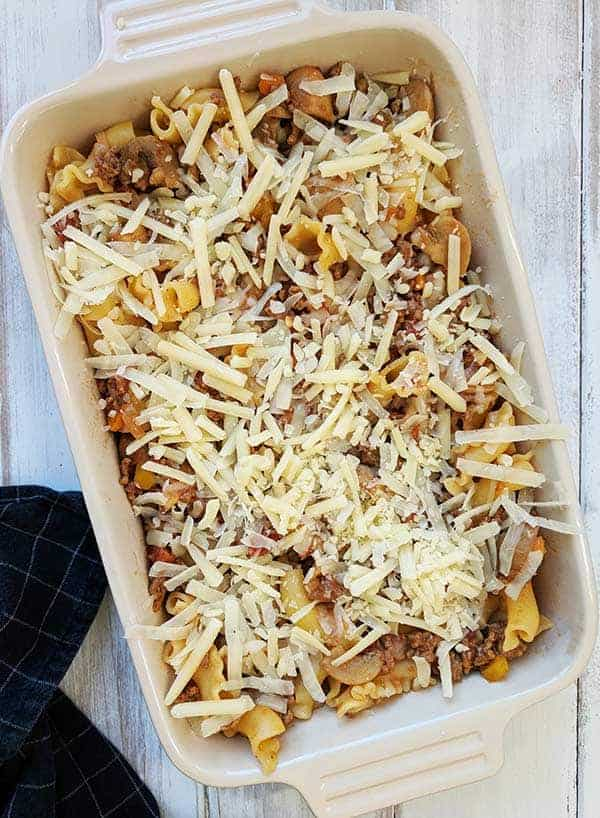 A dish of Past Bolognese Bake