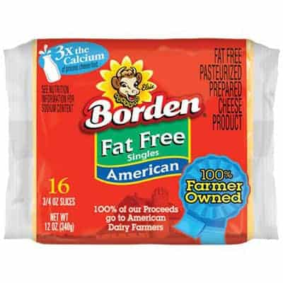 Bordens Fat Free slices - low point cheese