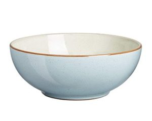 A blue Denby soup bowl