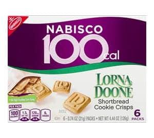 A box of Nabisco 100 cal Lorna Doone