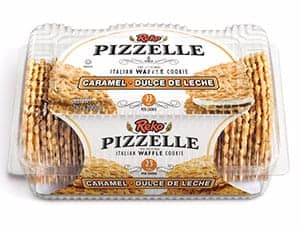 A box of caramel flavour pizzelle