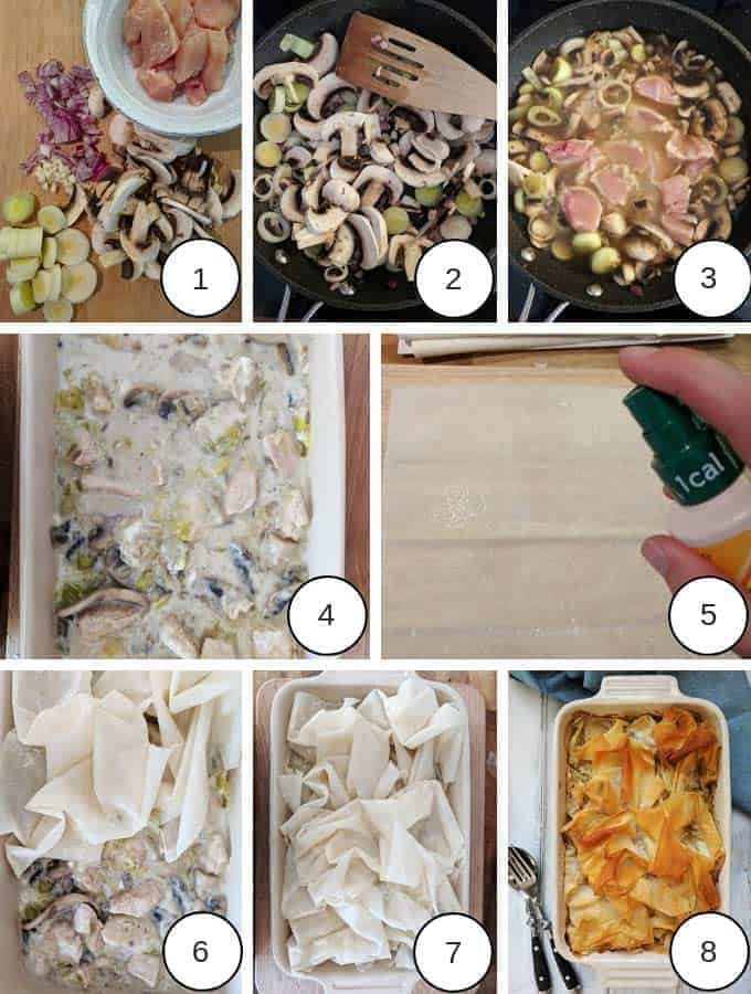 Pictures of the process of making chicken leek and mushroom pie